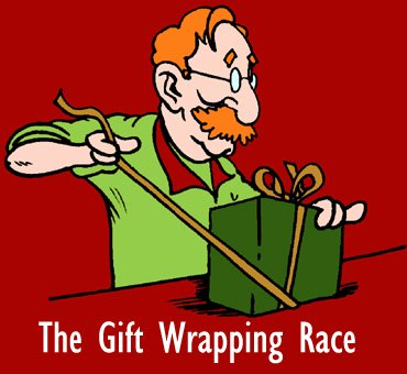 Man wrapping up Christmas gifts in the Gift wrapping race!