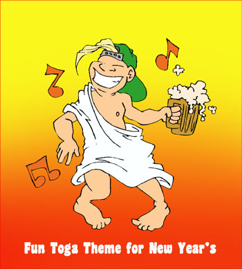 Fun toga theme for New Year's. Boy dancing in a toga with a beer in his hand.