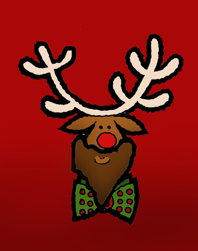 Funny Rudolph picture: Rudolph with a manly beard and green bow.