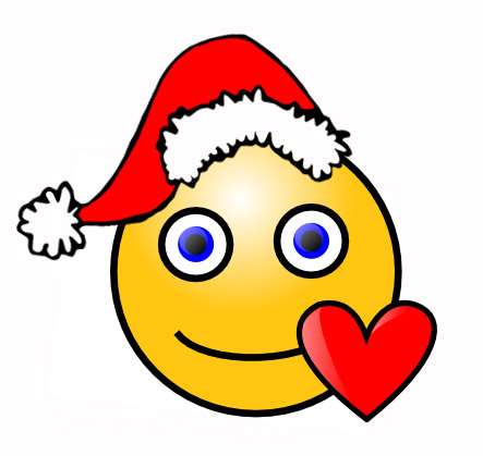 Yellow christmas smiley red love heart