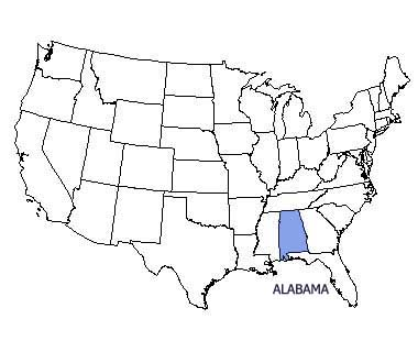 USA map with Alabama highlighted