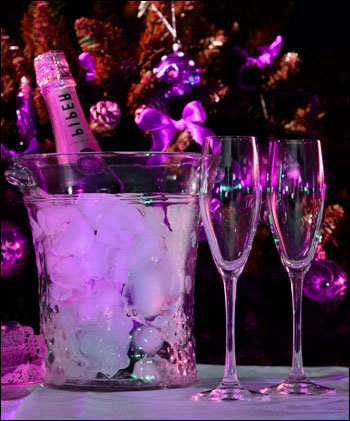 New Year's Eve party with beautiful Champagne and Champagne glasses.