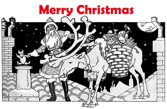 Funny vintage drawing, Santa Claus, reindeer, presents