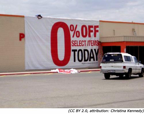 Funny sales signs: 0% Off. Select Items Today!