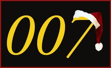 007 James Bond logo with a father Christmas hat.