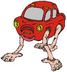 Funny drawing of red car with hands