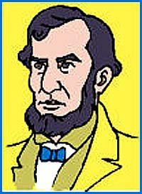 Colored drawing of Abraham Lincoln.