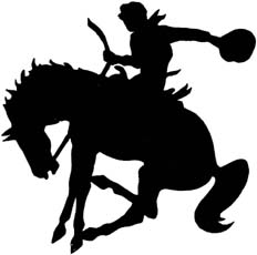 Wyoming nickname: The Cowboy State - picture of a bucking horse