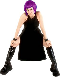 Goth girl in black clothes and purple hair.