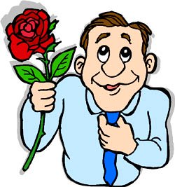Funny drawing of shy man holding a big red rose.