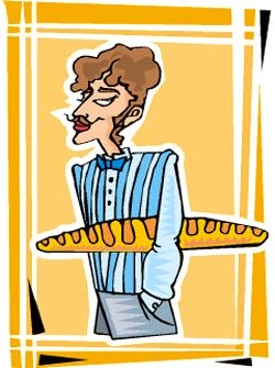 Really funny jokes: funny drawing of french guy with bread or baguette under his arm