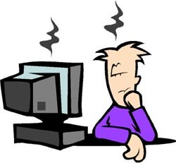 Really funny job jokes: Funny drawing of man working in front of computer and falling asleep