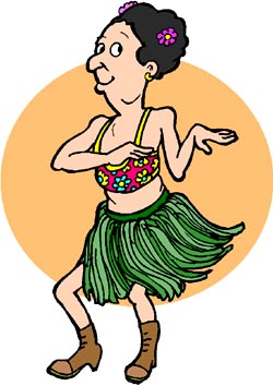 Slogans for Hawaii: funny drawing og female tourist doing a hawaii dance, the hula dance.
