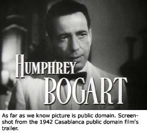 Trailer screen dump of Humphry Bogart in Casablanca.