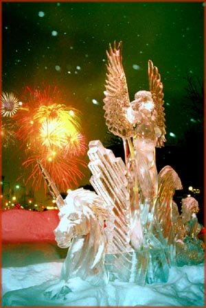 Fruitful New Year Wishes: Pretty firework behind creative ice statue.
