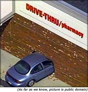 Qutoes on car insurance: Funny car accident of car crashing into drive through pharmacy.