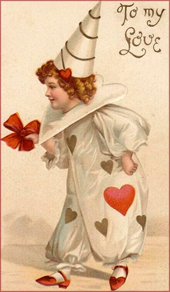 Little child in funny clown like costume with red hearts on. Free Valentines Day cards.