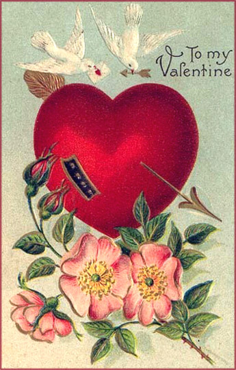 Vintage Valentine's Day cards: Two white doves, a big heart and rose twig with roses.