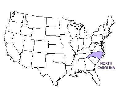 USA map with North Carolina highlighted