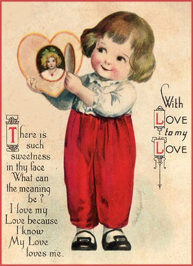 Cute boy with red pant and a locket with a woman inside: Vintage Valentine cards.