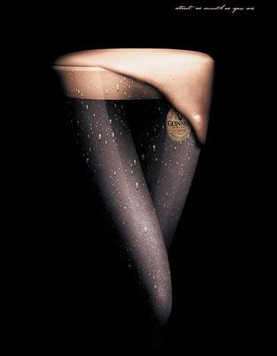 Guinness beer commercials - Glass that looks like legs.
