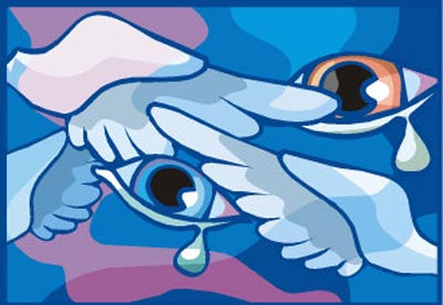 Heartbreaking: Painting of two eyes with tears and dove wings.