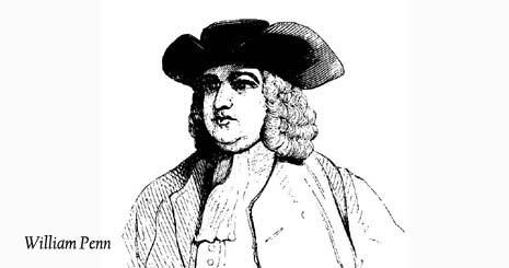 Pennsylvania nickname: The Quaker State - picture of William Penn Quaker