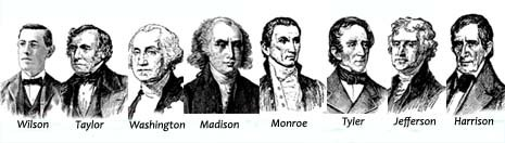 Virginia nickname: Mother of Presidents - picture of early American presidents