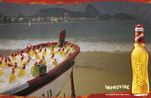 Brahma beer ads - Improvise - Boat filled with beer!