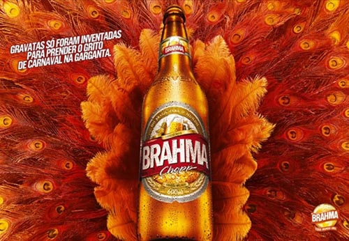 Brahma beer commercial - Beautiful picture of orange peacock feathers.