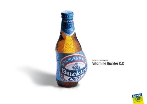 Buckler beer commercial, non-alcoholic - Pregnant bottle.
