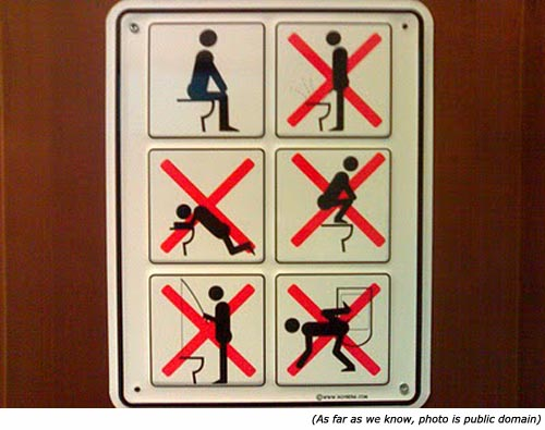 Funny bathroom signs with illustrative instruction on how to use the toilet.