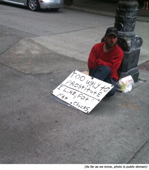 Hilarious signs made by homeless man. To ugly to prostitute. I like pot and fat chicks.