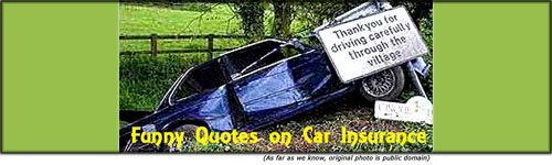 Funny quotes on car insurance: funny car accident, car in ditch behind thank you for driving carefully sign.