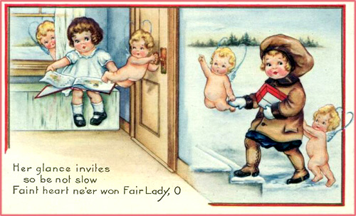 Valentine greeting cards: Two children and four little cupids.