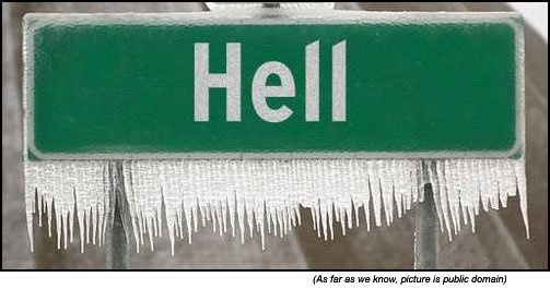 Random Funny Stuff - funny road signs - Hell freezes over in Norway