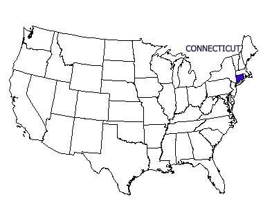 USA map with Connecticut highlighted
