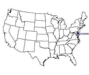 USA map with Delaware highlighted