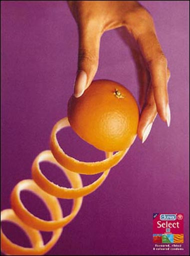 Durex select condoms - funny condom commercial with pealed orange