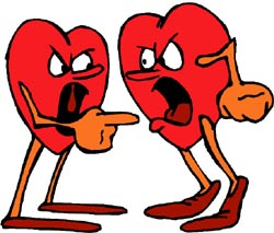 Marriage, why do people do it? Picture of two hearts having a fight!
