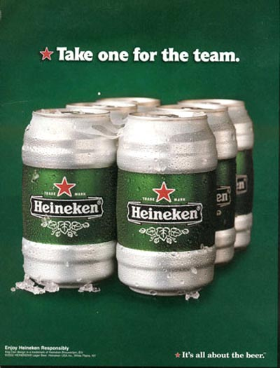 Heineken ads - six pack - Take one for the team