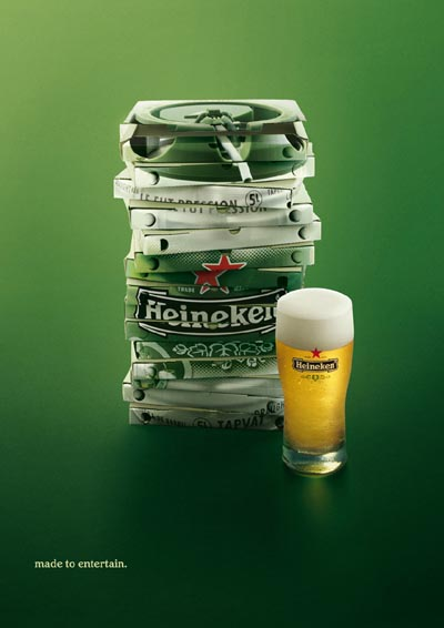 Heineken beer commercial - a pile of pizza boxes