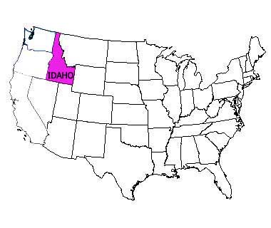 USA map with Idaho highlighted