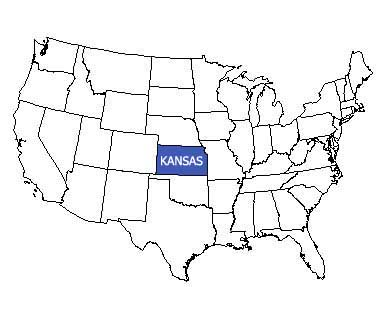 USA map with Kansas highlighted