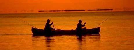Louisiana nickname: Fisherman's Paradise - picture of fishing in sunset
