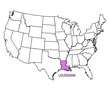 USA map with Louisiana highlighted