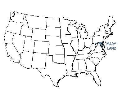 USA map with Maryland highlighted