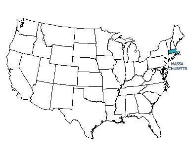 USA map with Massachusetts highlighted