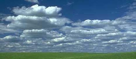 Montana nickname: Big Sky Country - picture of blue sky with white clouds
