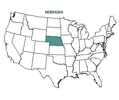USA map with Nebraska highlighted